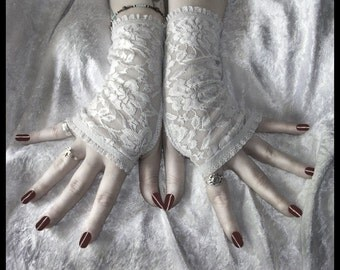 The Ghost in You Lace Fingerless Gloves - Pale Silver Dove Grey Floral - Gothic Tribal Lolita Wedding Regency Bohemian Edwardian Goth