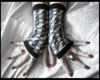 Esoteric Fingerless Gloves - Khaki Navy Blue Cream White Black Neutral Geometric Printed Pattern - Yoga Unisex Dark Tribal Tarot Bohemian