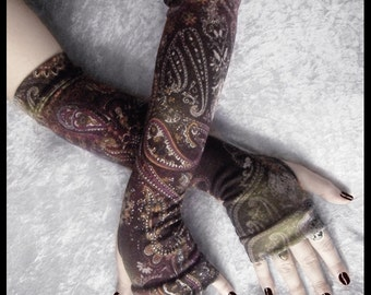 Arabian Arcana Arm Warmers - Soft Sweater Knit - Olive Green Cream Gold Plum Purple Silver Mehndi Paisley Floral - Bohemian Yoga Gothic Goth