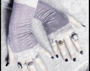 Silme Long Lace Fingerless Gloves - Dusty Plum & Lavender Purple Ornate Faux Brocade - Gothic Wedding Fetish Burlesque Damask Goth Mori