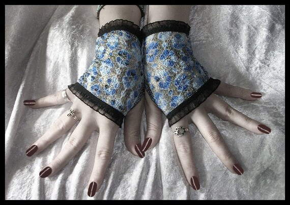 Cascade Lace Fingerless Gloves - Shimmery Blue Silver Grey Floral w/ Black - Gothic Noir Steampunk Lolita Vampire Victorian Bohemian