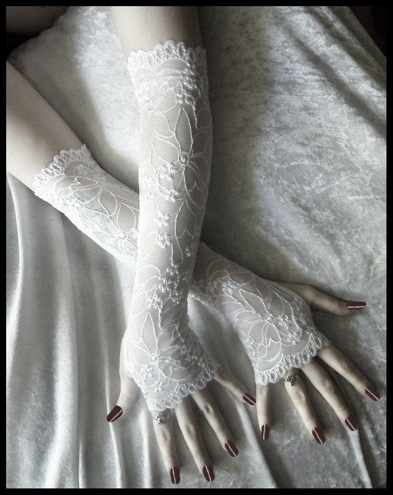 Vivianne Extra Long Arm Warmers -  White Lace w/ Embroidered Floral Scalloped Sleeves - Romantic Vampire Chic Fetish Dark Fusion Opera Fairy