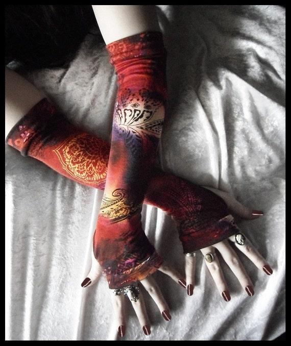 Moroccan Midnight Magic Arm Warmers - Burgundy Plum Indigo Rose Brown Cream Black Mehndi Paisley Floral - Yoga Gothic Dark Tribal Vampire