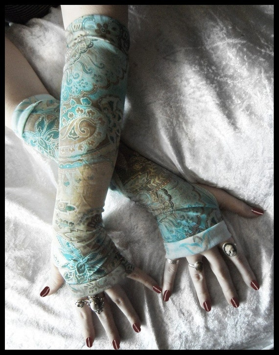 Mist and Mire Arm Warmers - Turquoise Teal Cream Brown Golden Ochre Tan Paisley Mehndi - Gothic Tribal Goth Bohemian Earth Yoga Emo Namaste
