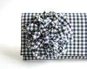 Clutch Checked Navy Blue  Clutch with Flower Handmade Mothers Day gift