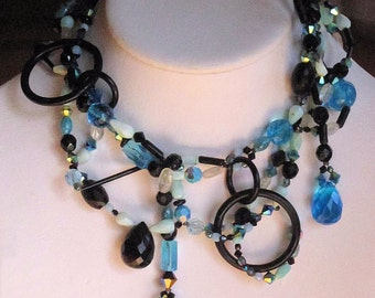 Couture Killer Shades of Grey Black and Blue Necklace
