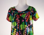Flowered Neon Vintage Dress or Tunic
