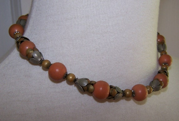Pumpkin, Brass and Silver Beaded Vintage Choker Necklace