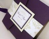 "Pocketfold Wedding Invitation / Dark Purple Invites / Mint and Purple Wedding / Damask Invitation / ""J'adore"" Damask Invitation Sample"