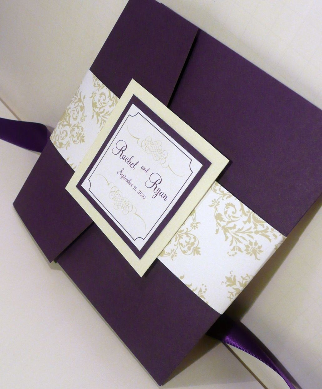 Pocketfold Wedding Invitation / Dark Purple Invites / Mint and