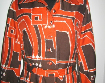 60s 70s Abstract handmade dress