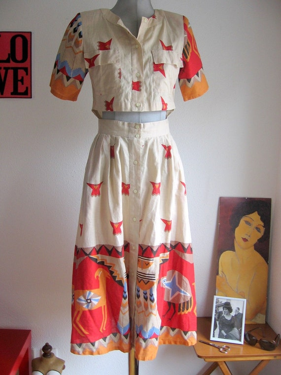 SALE 70s Vintage tribal  southwestern cut out cotton dress