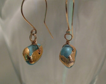 Sleeping Beauty Turquoise Earring 14k Gold Dangle Organic Drop JJDLJewelryArt
