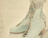 Vintage teal skates in snow-Christmas photography - winter decor- holiday photo-  (5 x 7 Original fine art photography prints) FREE Shipping