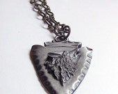 Call of the Wild Pewter Wolf Head Arrowhead Necklace
