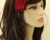 Velvet Red Flowers on an Alligator Clip- Handmade Hair Flower