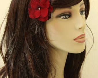 Velvet Red Flowers on an Alligator Clip- Handmade Hair Flower