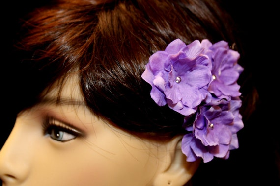 3 Dark Purple Star Flowers on Heavy Weight Bobby Pins - Handmade Flower Hair
