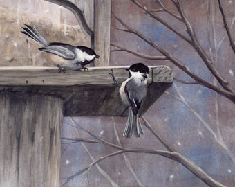 "Chickadee Watercolor Painting, ""Wintry Greeings"" - Fine Art Archival Print- Signed Giclée- Limited Edition Bird Art by Laura D. Poss"