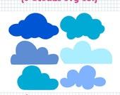 6 Cloud SVG DXF Set