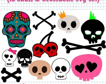 12 Skull and Crossbone SVG DXF Set