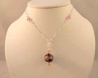 Venetian Glass Fiorato Sterling Silver Necklace Aurora