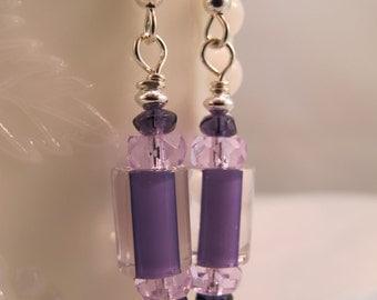 Purple Artisan Glass 925 Sterling Earrings