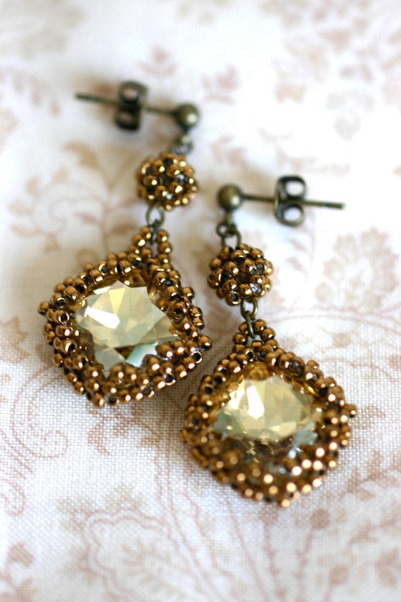 Crystal Gold Swarovski Earrings - Wrapped in Bronze Colored Japanese Seed Beads & Bead Ball