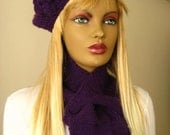 Winter Hat - Purple Hat, Beanie - Violet Beret with Flowers on it - Christmas Gift for Her
