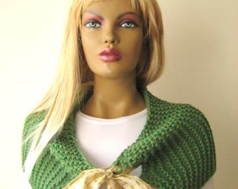 Green Cowl - Metallic Shiny Capelet, Stole, Scarf, Shrug, Poncho - Gift for Her - Ready to Ship