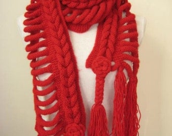 Red Fashion - Red Scarf - GIFT FOR HER - Wrap, Warm, Hot Claret Red Braid Scarflette, Neckwarmer, Cowl - Ready to Ship