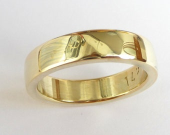 Mens wedding band men's gold ring men wedding ring thick massive heavy polished shiny 14k yellow gold