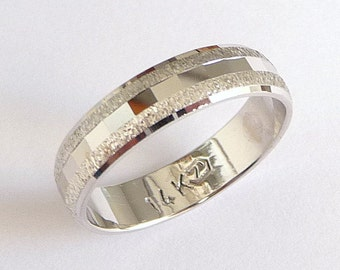 White gold wedding band for men women wedding ring domed unique wedding ring