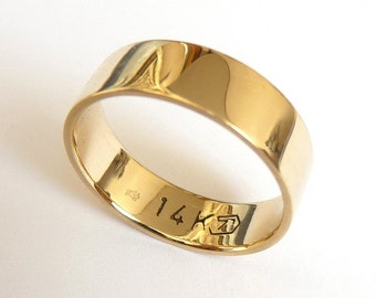 Gold wedding band men and women wedding ring flat with polished shiny finish 5mm wide