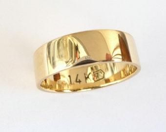 Gold wedding band mens wedding band womens wedding ring flat with polished shiny finish 6mm wide