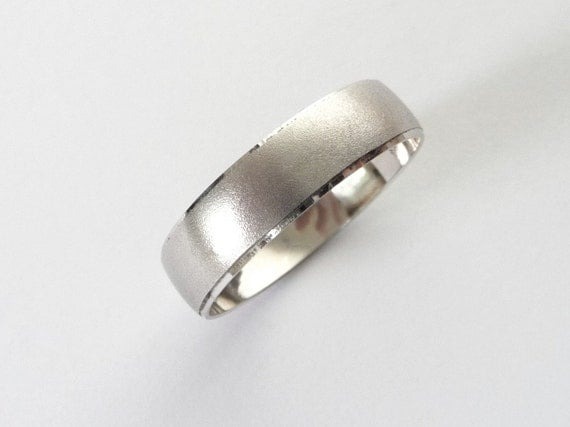 White gold wedding band wedding ring for men and women with sandblast finish 5mm wide