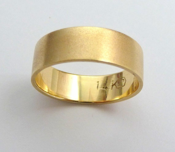Gold Wedding band men wedding ring flat with sandblast finish classic 6mm wide