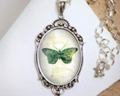 Green Butterfly Necklace - Silver Pendant - Jackie- Wearable Art with Silver Chain