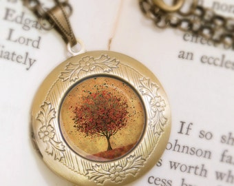 Autumn Tree Locket Necklace - Bronze Locket - Welcome Change (burnt orange) - Wearable Art with Bronze Chain