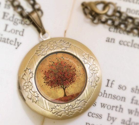 Autumn Tree Locket Necklace - Bronze Locket - Welcome Change (burnt orange) - Wearable Art with Bronze Chain