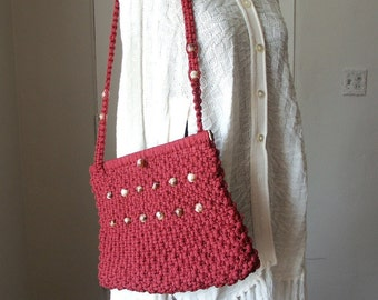 SALE...Vintage 70's Macrame Purse, Festival, Gypsy, Boho, Dark Red or Maroon with Swirly Beads, Shoulder Bag Cute for Summer