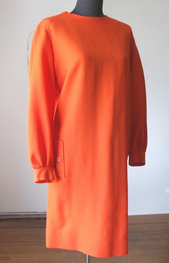 Vintage 60's Dress, SUPER MOD Shift, Sunny Orange, Long Sleeve, Wool, Women's Large