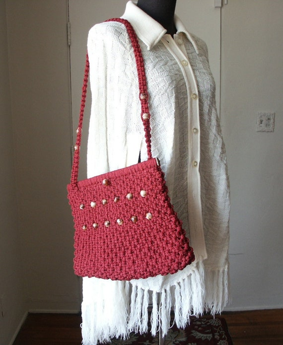 Vintage 70's Macrame Purse, Festival, Gypsy, Boho, Dark Red or Maroon with Swirly Beads, Shoulder Bag Cute for Summer
