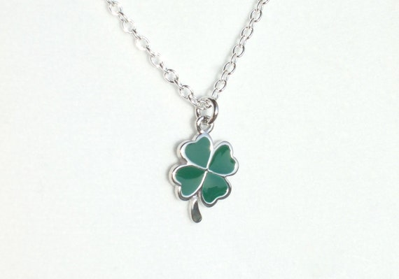 Lucky Shamrock / Four Leaf Clover Necklace, Silver & Green - Unisex, Irish, Option to Personalize-Birthstone,Pearl,Hand-Stamped Initial Disc