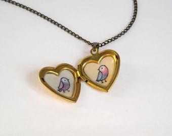 Birds Heart Locket - Gold Locket Necklace with Bird Illustrations - Brass Heart Pendant