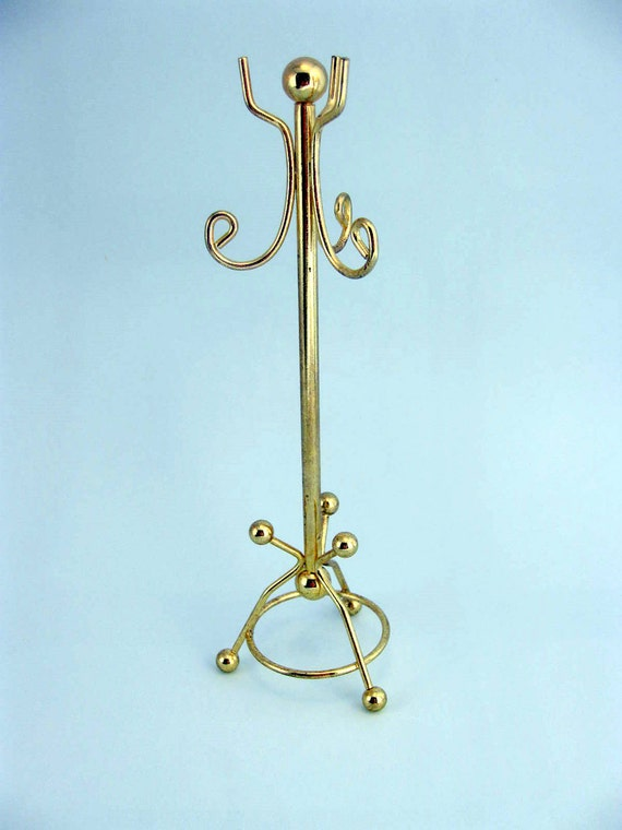 Miniature Brass Coat Rack Hall Tree Dollhouse Furniture