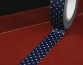 Classiky Japanese Washi tape - White Polka Dots on Navy Blue