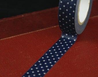 Classiky Japanese Washi tape - White Polka Dots on Navy Blue