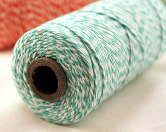 BRIGHT & BOLD Sea Green and White Twisted Bakers Twine String for crafting, gift wrapping, packaging, invitations - 240 yards