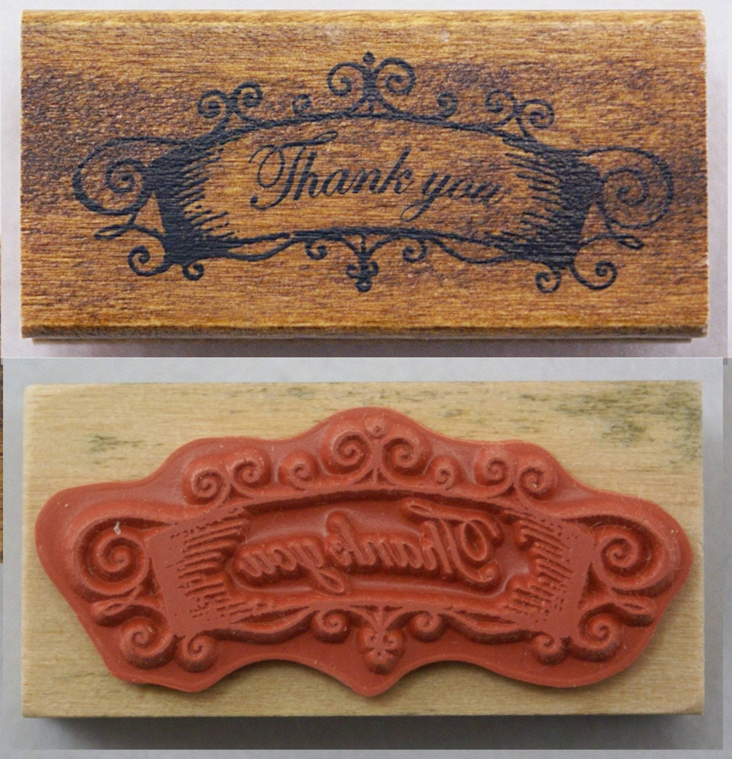 Fancy THANK YOU Swirl Wrought Iron Banner-Japanese Wood Stamp